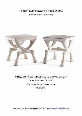 A Beautiful Pair Of Hoffed Plaster Design Side Tables / John Dickinson