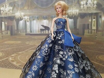 Metal blue and silver ball gown for Silkstone and other fashion dolls
