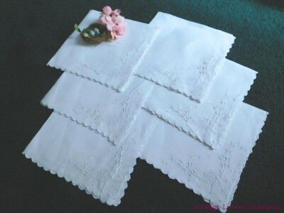 ROMANTIC Antique LINENS  BRODERIE ANGLAISE Embroidery & Cutwork VINTAGE NAPKINS