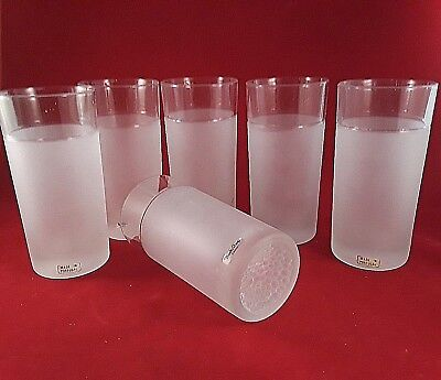 Vintage Boda Shop Sweden Frosted Tumblers SET OF 6 Made in Portugal CLEAR GLASS