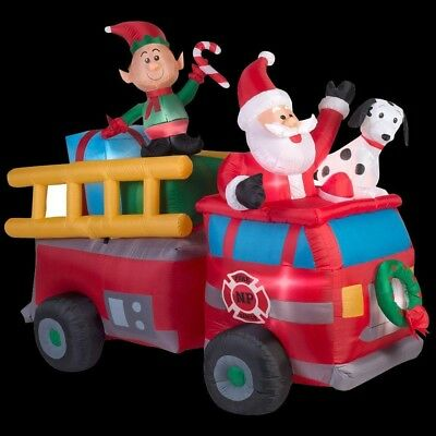 Home Accents Holiday 7 ft. Lighted Inflatable Santa's Fire Truck Scene