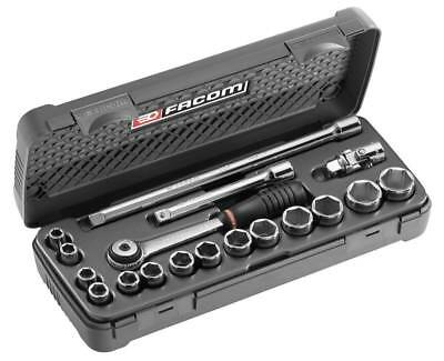 "FACOM J.4APB 3/8"" Dr 6 Point SOCKET SET 8 - 22mm with Ratchet & Accessories"