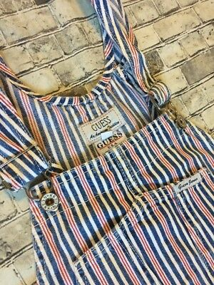 Kids GUESS OVERALLS Vintage Retro Denim STRIPED Shorts 1990s Boys Med Women