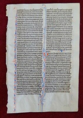 Illuminated Manuscript Leaf Bible Vellum Paris France 1250 #b150