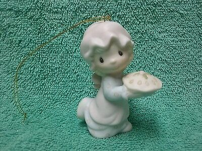 Precious Moments Figurine Ornament, Dropping Over For Christmas, Girl With Pie