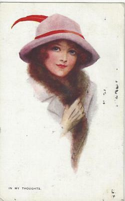 """Glamour Lady In Fashion Hat - """" In My Thoughts"""" 1916 Art Postcard"""