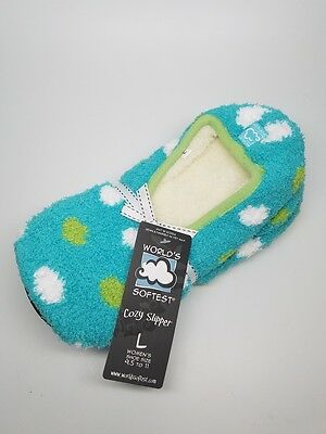 WORLDS SOFTEST Cozy Womens Slippers Turquoise with Dots - Size Large - NEW