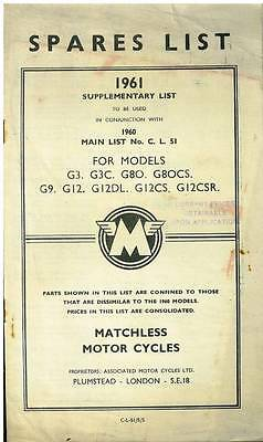 Matchless Motorcycle G3 G8O G9 & G12 Models Supplementary Spares Manual - 1960-1