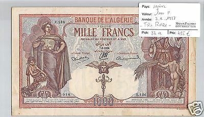 Bank De L'algeria 1000 Francs 7.3.1938 Alphabet Z.136 Very Rare