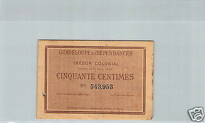 Guadeloupe Tresor Colonial 50 Cent 18 Aout 1884 Pick 1r selten