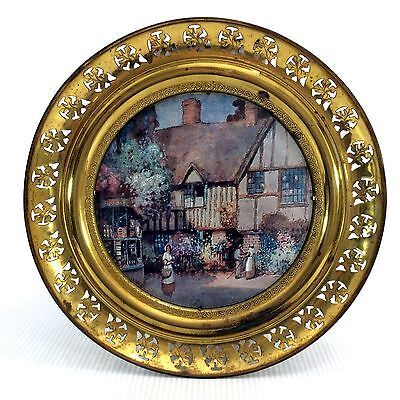 """Solid Brass Wall Hanging Hand Painted Art Round Tray Plate 14"""" England Vintage"""