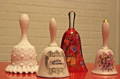 * 4 Vintage Bells - Milk Glass, Glass & Porcelain - Very Nice condition