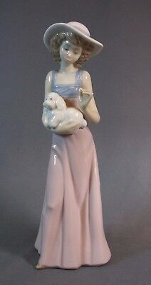 """Nao Figure Young Girl Holding Spaniel Puppy 10"""" Tall"""