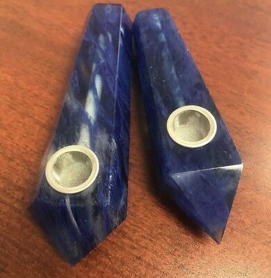 #C1 Handmade Blue Quartz Natural Stone Crystal Smoking Tobacco Pipe~Not Glass!