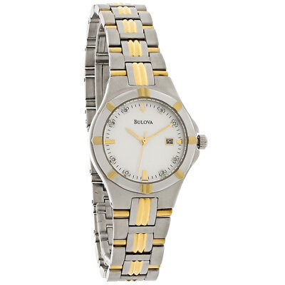 Bulova 98P116 Women's MOP Dial Two-Tone Stainless Steel Diamond Accented Watch