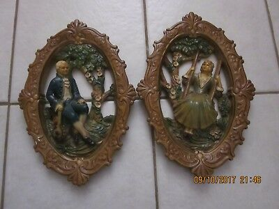 Lot of 2 Vintage Ceramic Chalk Ware Plaque Picture / Frame Men and Woman NICE