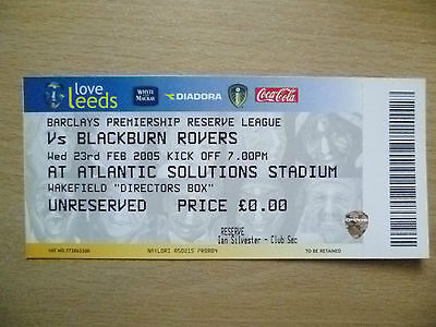 Tickets/ Stubs Reserve League 2005 - LEEDS UNITED v BLACKBURN ROVERS, 23rd Feb