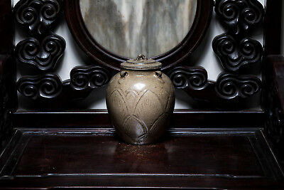 Song Style Chinese Antique Southern Ware Olive-Green Glazed Jar with Cover ETR23