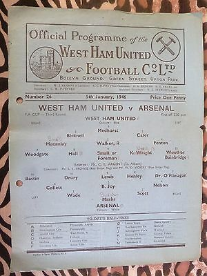 1946 WEST HAM UNITED v ARSENAL  - 5th January