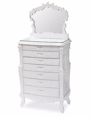 French Style Jewelry Armoire White Lacquer with Mirror