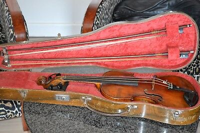 Old violin set, Italian label Gagliano 17??, with nice case and 2 bows