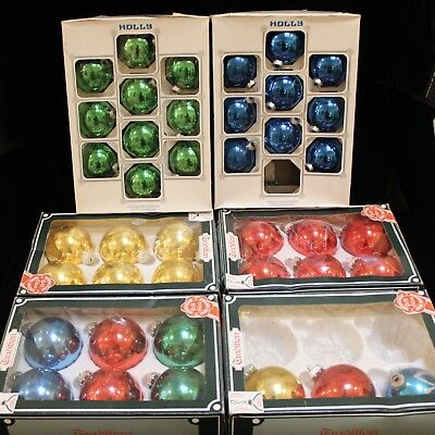Vintage Glass Christmas Baubles  - 40 Boxed - Tradition German / Holly American
