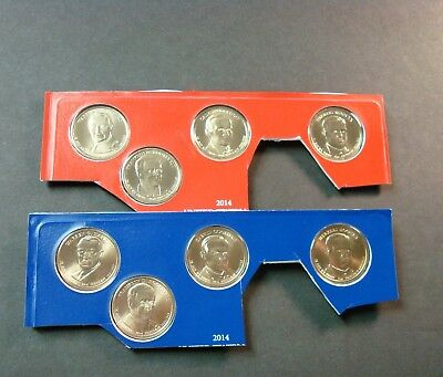 2014-P+D - Eight Coin Set Of Uncirculated President Golden Dollars Mint Sealed