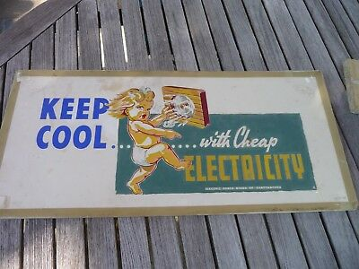 Keep Cool Sign Artwork Vintage Painted Electric Company Rare Vintage 1951 Old