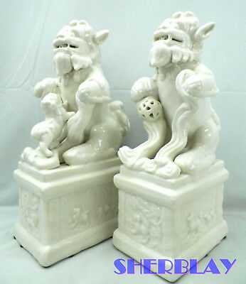 Guardian Foo Dogs on Plinths Heavy White Ceramic Porcelain Statues Bookend Pair