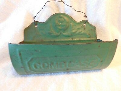 Vintage Green Painted Hanging Comb Case, BarberShop, Very Attractive!