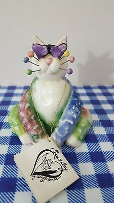 "2001 Annaco Creations Amy LACOMBE WhimsiClay Cat ""Love Struck Hearts"""