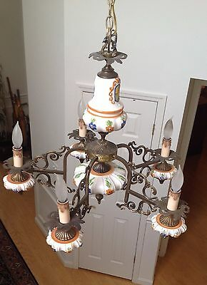 Ceramic 5 Arm Hand Painted Chandelier w/ Brass Accents