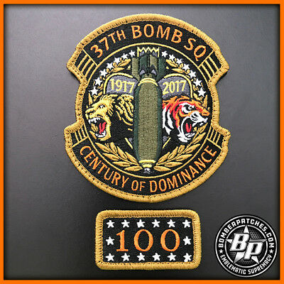 37th BOMB SQUADRON 100TH ANNIVERSARY PATCH & TAB SET, B-1B LANCER, ELLSWORTH AFB