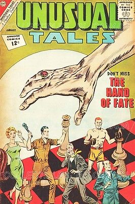 """UNUSUAL TALES 1963 Human Chess Pieces MECHANIC Boxer = 19"""" POSTER Not Comic Book"""