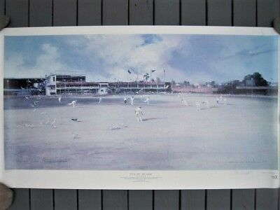 Large Signed D'arcy Doyle Print 'picnic Day The Gabba' Cricket