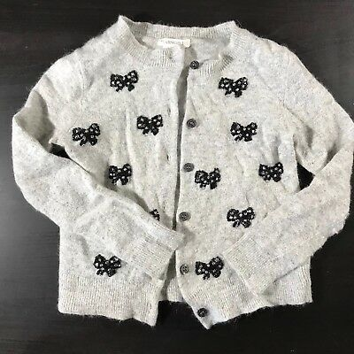 J crew Crewcuts Gray Beaded Bow Cardigan Holiday Outfit Size 4T 5T