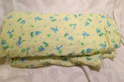 "Vtg Yellow Seersucker Nursery Print Fabric Blue Animals 120"" x 35"""
