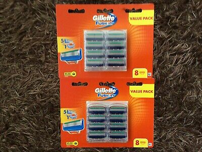 Gillette Fusion 5 Packs Of 8 Cartridges ( 40 Shaving Blades) Free  Postage