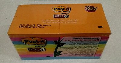 """Post-It Notes 3"""" x 3"""" World Of Color Rio De Janeiro  Collection 16 Pads sticky"""