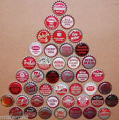 Vintage soda pop bottle caps RED COLORS Lot of 43 different new old stock cond