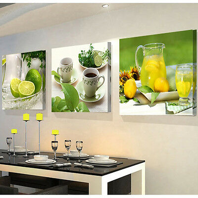 3 Panel Unframed Modern Oil Painting Fruit Fine Art Picture On Canvas Home Decor