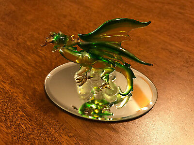Dragon Green Gold Clear Figurine of Blown Glass Crystal