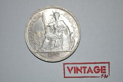 1922-H French Indo-China 1 Piastre De Commerce Silver Coin