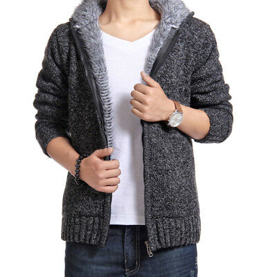 Men's Solid Hoodie Zipper Slim Fit Cardigan Sweater Jacket Coats