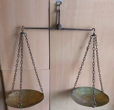29# Old Antique Islamic, Ottoman Large Equal Arm Balance Hanging Scales Brass