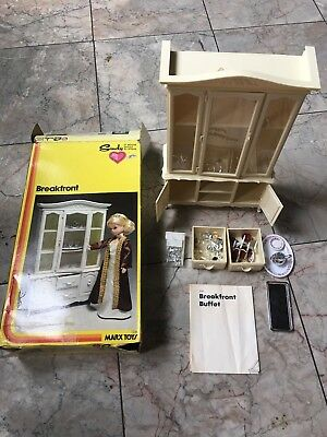 Sindy Doll Breakfront China Cabinet Hutch & Dining Table & Chairs, Vintage Marx