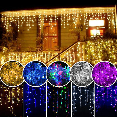 96-300 LED Fairy String Hanging Icicle Snowing Curtain Lights Outdoor Xmas Party