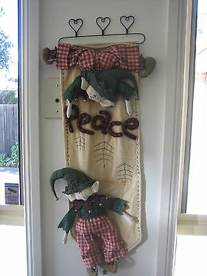Handmade Whimsical Christmas Elves and Peace Wall Hanging, Sewing Craft doll