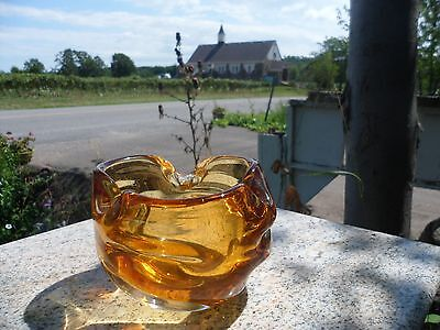 Mid Century Modern Amber Yellow Art Glass Bowl Chalet Free Form Stretch