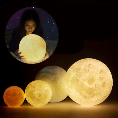3D Magical LED Luna Night Light Moon Lamp Desk USB Charging Touch Control Gifts